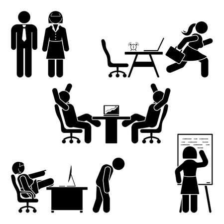 스틱 그림 사무실 포즈 설정합니다. 비즈니스 금융 직장 지원. 작업, 앉아, 말하기, 회의, 교육, 토론 벡터 픽토그램