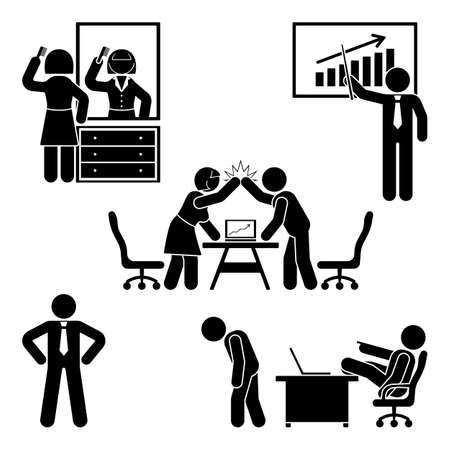 Stick figure office poses set. Business finance workplace support. Working, sitting, talking, meeting, training, discussing vector pictogram Illustration