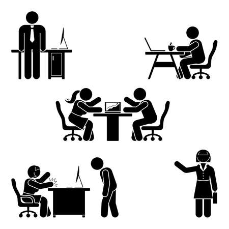 Stick figure office poses set. Business finance workplace support. Working, sitting, talking, meeting, training, discussing vector pictogram  Ilustracja
