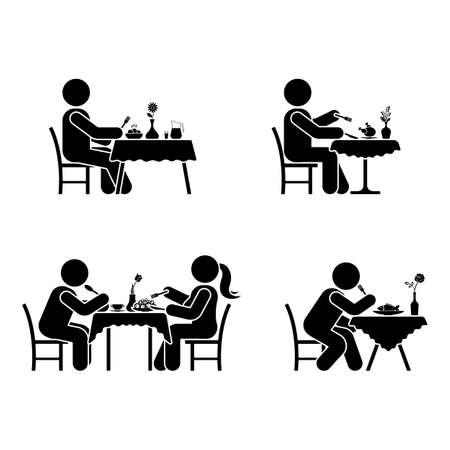 Pictogram voor eten en drinken. Stok figuur vector dineren paar pictogram op wit