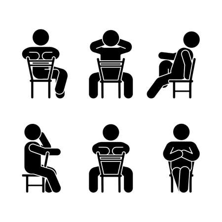 Woman people various sitting position. Posture stick figure. Vector seated person icon symbol sign pictogram on white Illustration