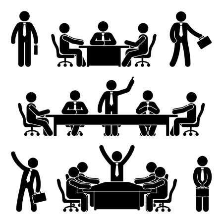 Conjunto de reunión de negocios de figura de palo. Finanzas gráfico persona pictograma icono. Discusión de marketing de soluciones de empleados