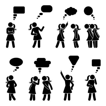 Stick figure dialog speech bubbles set. Talking, thinking, whispering body language woman conversation icon pictogram