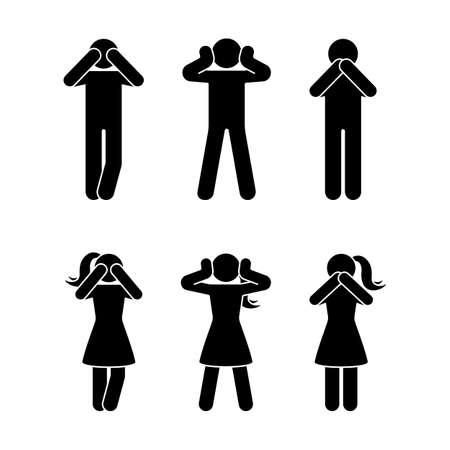 Stick figura conjunto de três sábios macacos pictograma. Não veja nenhum mal, não ouça nenhum mal, não fale nenhum ícone do conceito do mal