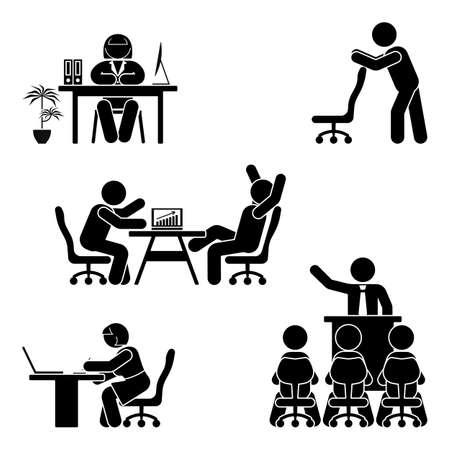 Stick figura escritório poses conjunto. Apoio no local de trabalho de finanças de negócios. Trabalhando, sentado, falando, reunião, treinamento, discutindo pictograma vector