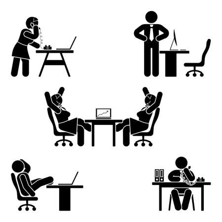 Stick figure office poses set. Business finance workplace support. Working, sitting, talking, meeting, training, discussing vector pictogram  Vettoriali