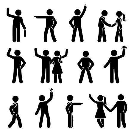 Stick figure different arms position set. Pointing finger, hands in pockets, waving person icon posture symbol sign pictogram on white