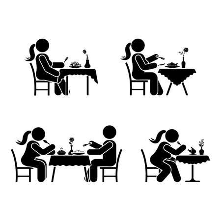 Essen und trinken Piktogramm. Stockzahl Vektor, der Paarikone auf Weiß speist
