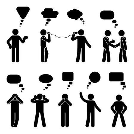 Stick figure dialog speech bubbles set. Talking, thinking, communicating body language man conversation icon pictogram