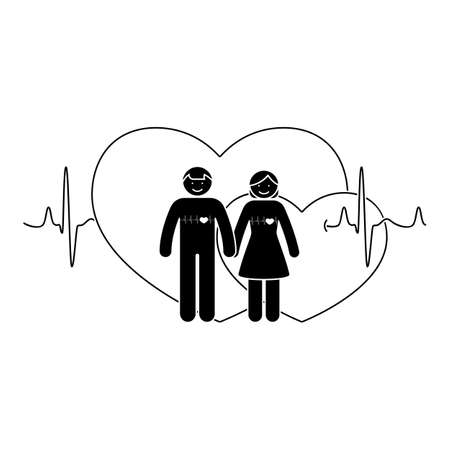 Stick figure couple. Man and woman in love vector illustration. Boyfriend and girlfriend holding hands pictogram icon on double heart shapes and cardiogram background Illustration