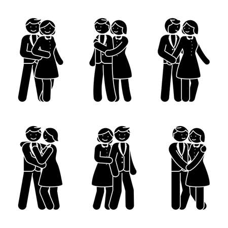 Stick figure happy couple embrace one another. Smiling man and woman in love vector illustration.