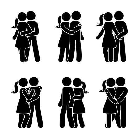 Stick figura feliz pareja se abrazan. Hombre y mujer en la ilustración vectorial de amor