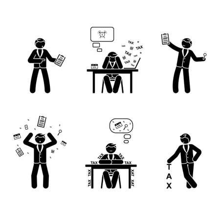Stick figure tax season set vector illustration Stock Illustratie