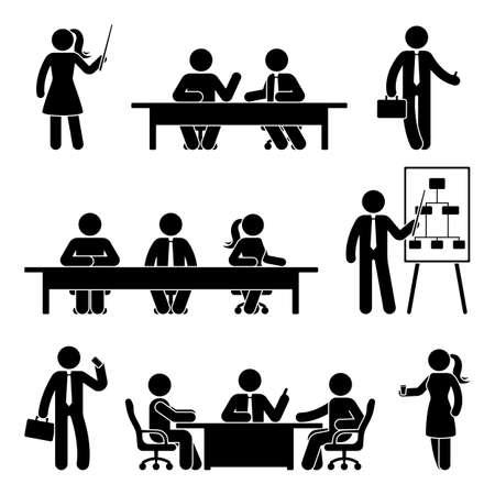 Stick figure business meeting icon set vector illustration