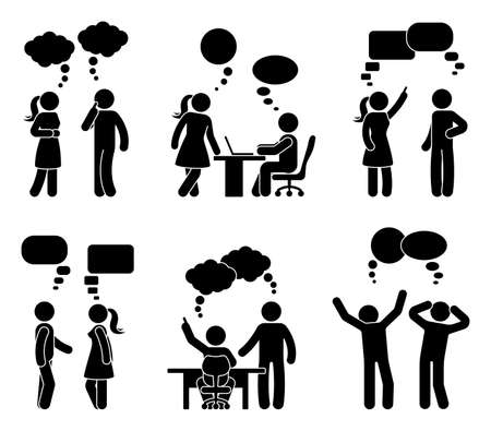 Stick figura oficina personas discurso burbuja conjunto. Ilustración de vector de compañeros de trabajo hablando en blanco