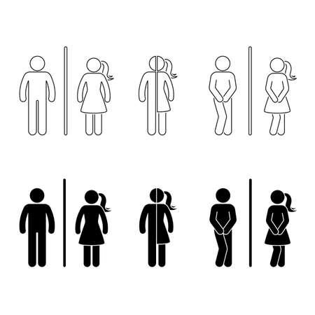 Vector de illustratiereeks van het toilet mannelijke en vrouwelijke pictogram