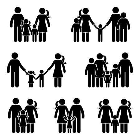 Conjunto de iconos familiares de figura de palo. Ilustración de vector de personas en diferentes edades en blanco