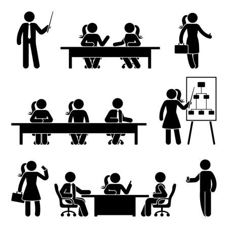 Stick figure business presentation icon set. Vector illustration of negotiation on white Vectores