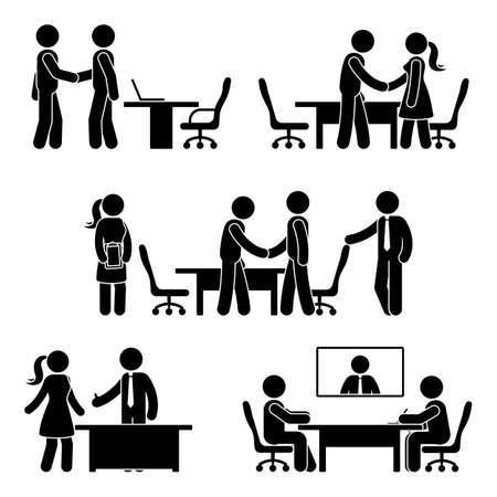 Conjunto de iconos de negociación figura palo. Ilustración de vector de manos agitando pictograma de reunión en blanco