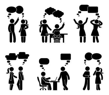 Stick figure workplace couple dialog bubbles set. Vector illustration of employee conversation on white Illusztráció