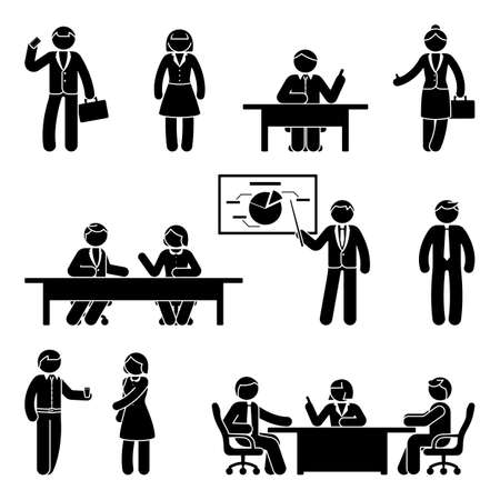 Stick figure businessmen and women communication icon set. Vector illustration of presentation, negotiation, discussion on white background