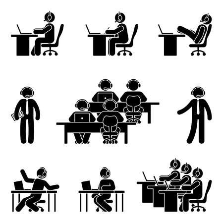 Pegue la figura del hombre que trabaja usando la computadora en centro de atención telefónica. Ilustración de vector de icono de soporte al cliente en blanco