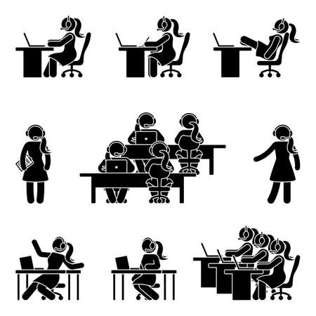 Stick figure call center icon set. Vector illustration of working woman with headphones on white