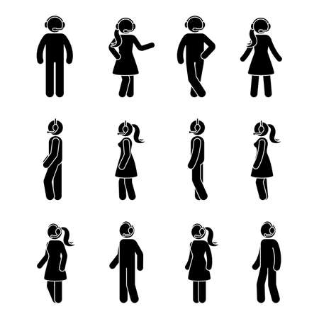 Stick figure customer support center icon set. Vector illustration of standing man and woman with headset on white