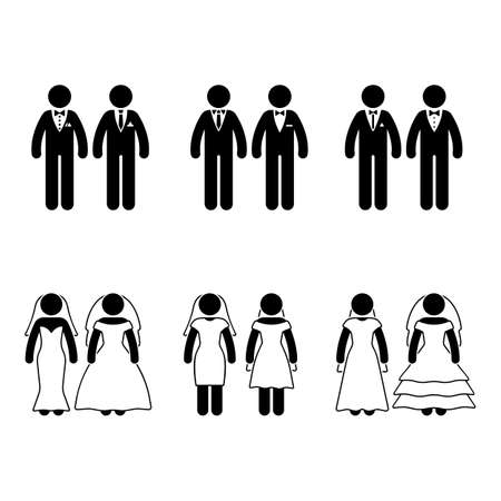Stick figure same-sex marriage set. Vector illustration of happy newlyweds on white