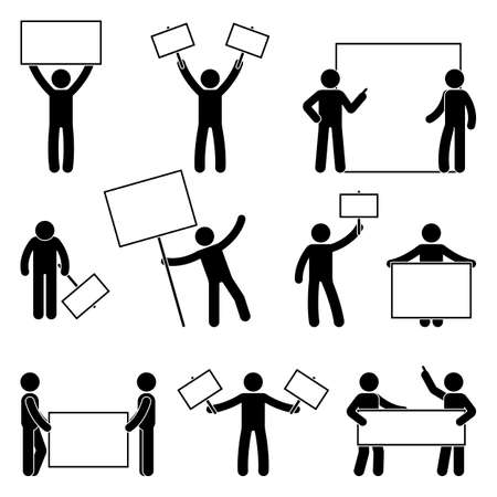 Stick figure join protest set, vector illustration of people holding banner on white background.