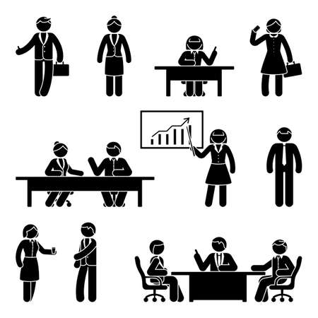 Stick figure business report icon set.