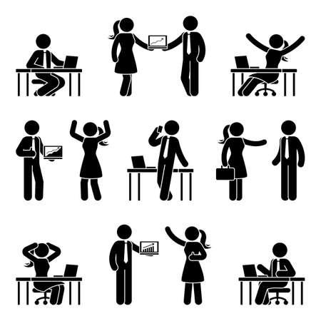 Stick figure business people at workplace icon set. Çizim