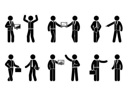 Stick figure business cooperation icon set. Illustration