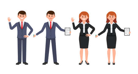 Young man and woman office workers waving hands and writing notes. Vector illustration of cartoon character coworkers in business suits Stockfoto - 103275860