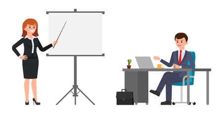 Young woman in black suit making presentation in front of man in dark blue suit. Vector illustration of cartoon character business meeting