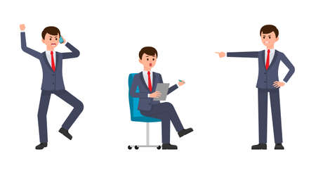 Angry man in dark blue business suit shouting on smartphone, pointing finger. Surprised man sitting on office chair and writing notes. Vector illustration of cartoon character upset businessmen