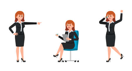 Angry woman in black business suit shouting on smartphone, pointing finger. Surprised woman sitting on office chair and writing notes. Vector illustration of cartoon character upset businesswomen