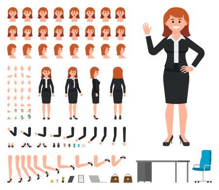 Empresaria en conjunto de creación de personajes de traje negro. Constructor de gerente de oficina de chica de estilo de dibujos animados de vector