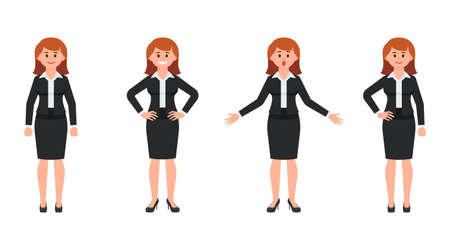 Young businesswoman in black suit cartoon character. Vector illustration of smart female clerk in different poses