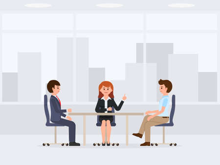 Two business man and woman sitting at the office table cartoon character. Vector illustration of meeting, negotiation