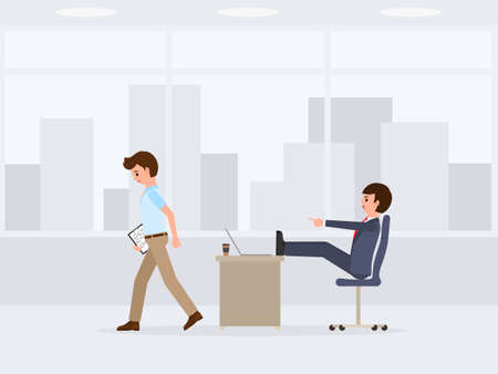 Unhappy worker waking away from angry boss cartoon character. Vector illustration of emotional working day