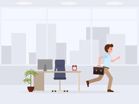 Impiegato felice scappando dal personaggio dei cartoni animati di lavoro. Illustrazione vettoriale di fine giornata lavorativa