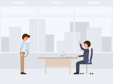 Unhappy worker with wrong report and angry boss cartoon character. Vector illustration of emotional working day