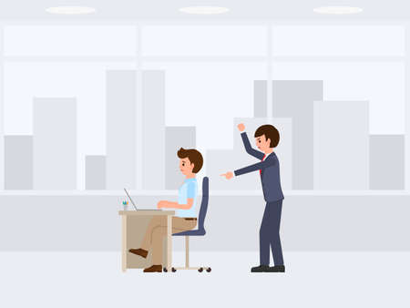 Angry boss shouting on unhappy stuff cartoon character. Vector illustration of stressed working day Illustration