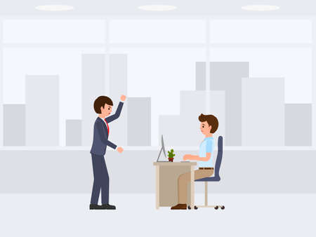 Angry boss screaming on dejected stuff cartoon character. Vector illustration of stressed working day