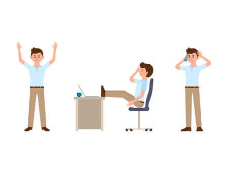 Unhappy office man cartoon character. Vector illustration of upset manager Illustration