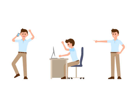 Angry office man cartoon character. Vector illustration of shouting manager