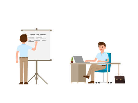 Young man writing on whiteboard, sitting at the office desk cartoon character. Vector illustration of working day