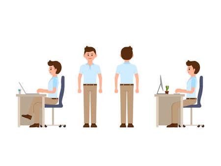 Oficinista amistoso sentado en el escritorio, de pie. Ilustración de vector de gerente en look casual elegante
