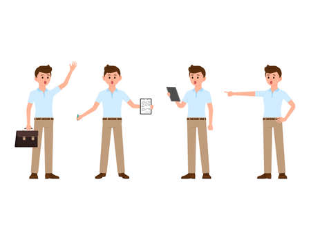 Amazed business man cartoon character. Vector illustration of surprised manager